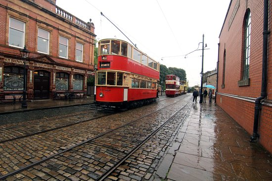 """Matlock, UK: Trams lined up in the """"village"""""""