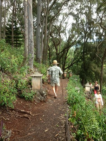 Lawai International Center: a meditative zig-zag hike across the hillside, walking sticks provided