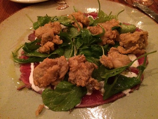 Hillsborough, NC: Fried oysters, organic greens and beef carpaccio-The best!