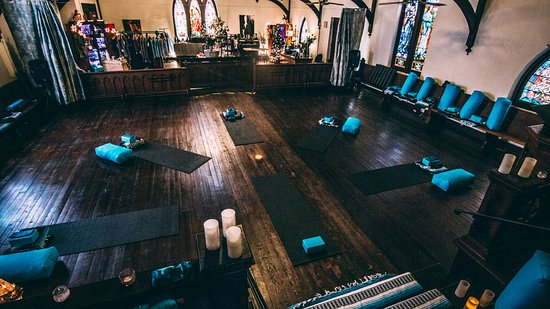 Fort Scott, KS: Yoga and boutique at 1905 Church - The Shiney Studios. Beautiful stain glass and 1908 Pfeffer Or