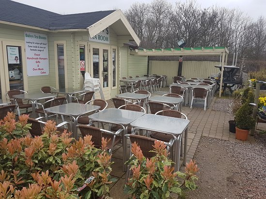 Rothley, UK: Extensive outdoor seating to enjoy the sunshine and marvellous displays of flowers and plants of