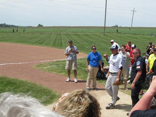 Dyersville, IA: Kevin Costner in the celebrity softball game