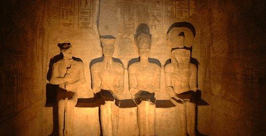 Egyptian Sidekick: The ancient Egyptian gods Ptah, Amun, Ramses the Great, and Ra at Abu Simbel