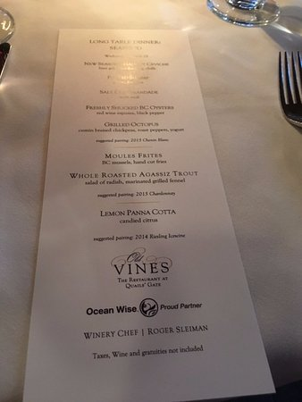 Old Vines Restaurant: Long Table Menu for the evening - Seafood