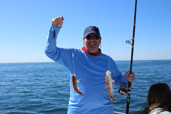 Dad caught a double a couple of rock sea bass picture for Rocky point fishing charters