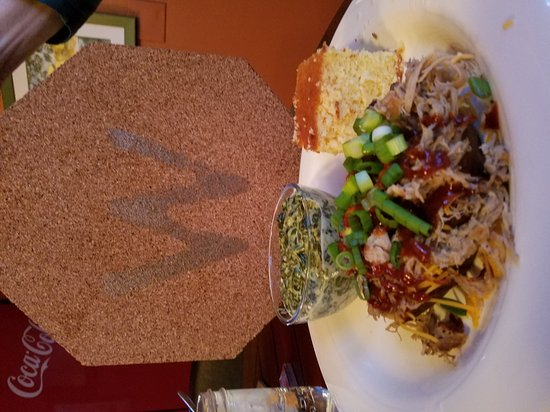 La Conner, WA: Stuffed sweet potato with pulled pork green onions and barbecue sauce