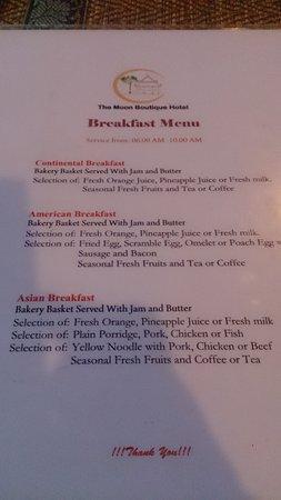 The Moon Boutique Hotel: Opciones de desayuno. Les recomiendo los noodles!!