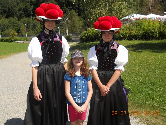 Gutach im Schwarzwald, Germany: Traditional Luteran wear at Black Forest Open Air Museum Vogtsbauernhof