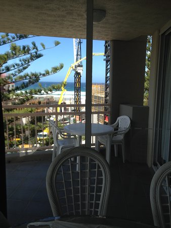 Wharf Boutique Apartments: View from apartment out to balcony