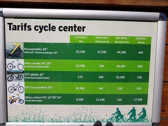 Center Parcs - Domaine des Trois Forets : Tarifs du cycle center (indiqué nulle part sur le site officiel !)