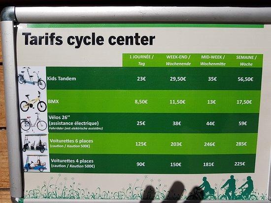 Hattigny, France: Tarifs du cycle center (indiqué nulle part sur le site officiel !)