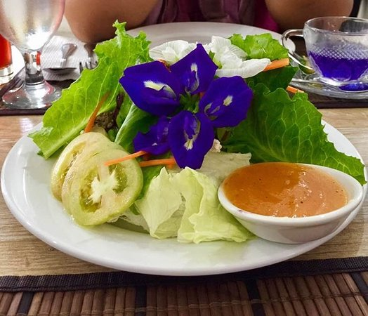 Cavite Province, Philippines: Flowers find their way into their salads too!