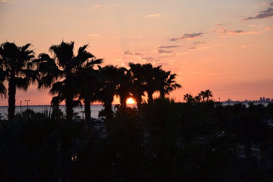 Ruskin, FL: We could see sunsets over Tampa Bay from our front streetside balconies. This looks toward the b