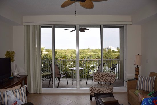 Ruskin, FL: Living room/dining with tv and slider to patio overlooking canal.