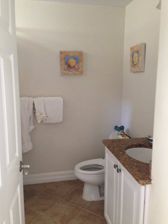 The Inn at Little Harbor: upstairs shared bath with tub/shower combo. 2nd floor with bedrooms.