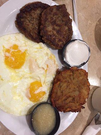 TooJay's: greasy potato pancake battle scarred eggs