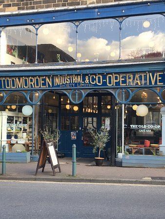 Todmorden, UK: The Old Co-Op has had other names. It is less than 2 minutes walk from train station in Todmordo