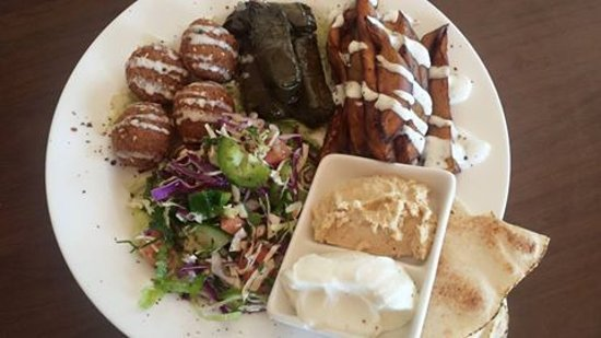 Derby, Australia: Vegetarian platter (Falafel,fried eggplant,Stuffed vine leaves ,hommus,garlic dip &bread)