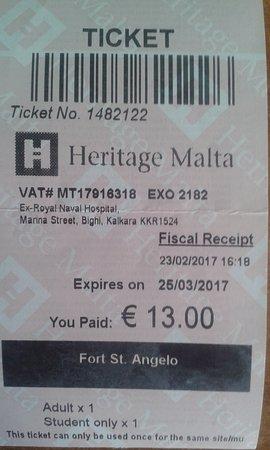 Birgu (Vittoriosa), Malta: ticket
