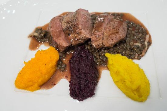 Ligneuville, Belgium: filet de canard aux lentilles - 3 purées de carottes