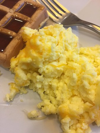 Washington, PA: Scrambled eggs with cheese and waffle from the complimentary breakfast buffet