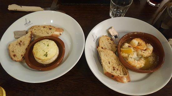 Milford Haven, UK: Baked Camembert and Garlic Prawn starters