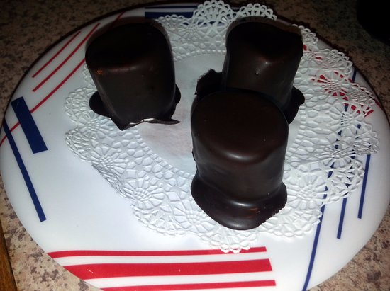 Rolling Meadows, IL: chocolate covered marshmallows for dessert