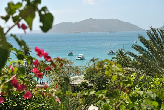 Agape Cottages: The view of Cane Garden Bay and Jost Van Dyke Island.