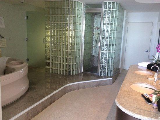 Master Bathroom Enclosed Toilet master bathroom with huge whirlpool tub, sauna, enclosed toilet
