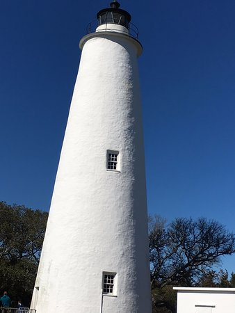 Looking up at the Ocracoke LIghthouse.