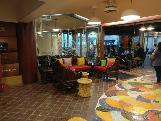 Seva Cafe: There is a large seating space just before the restaurant area