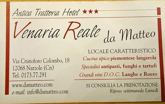 Riferimenti Trattoria Hotel Venaria Reale - Narzole (CN)
