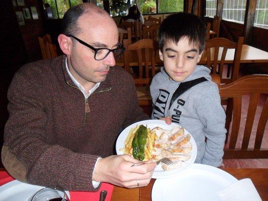 Hornachuelos, Spain: Pechuga de pollo plancha con guarnicion de patatas y pimiento verde