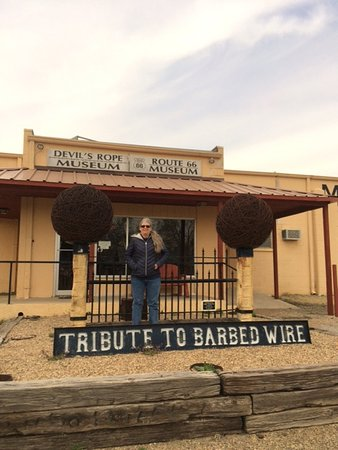 McLean, TX: The front of the museum, with matching barbed wire balls!