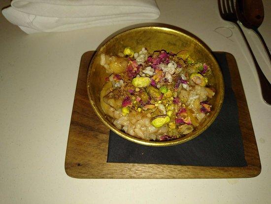 NOPI: riso e latte di mandorle, pistacchi, calvados