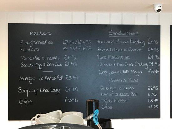 Lowick, UK: The lunch menu ...