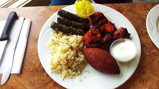 New Castle, PA: Chicken House Platter w/grapes leaves, fried kibbie and rice.