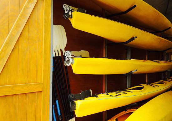 Okarito Kayaks: Kayaks in storage.