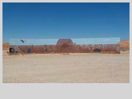 A welcome to Coober Pedy sign. Wayne's daughter is an artist!