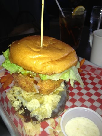 Kingsville, Canada: Barricuda Burger, honey garlic sauce with deep fried pineapple, yummy