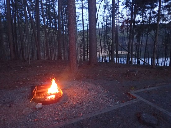 Mountain Pine, AR: Firepit overlooking the lake