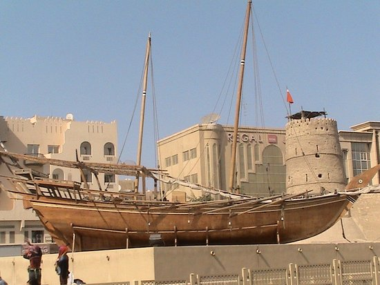 Arabian Courtyard Hotel & Spa: View from our room, 3rd floor. Dhow boat in the courtyard outside