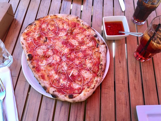 LAMP Wood Oven Pizzeria: Grandma Pizza with a side of Calabrian Chile Oil