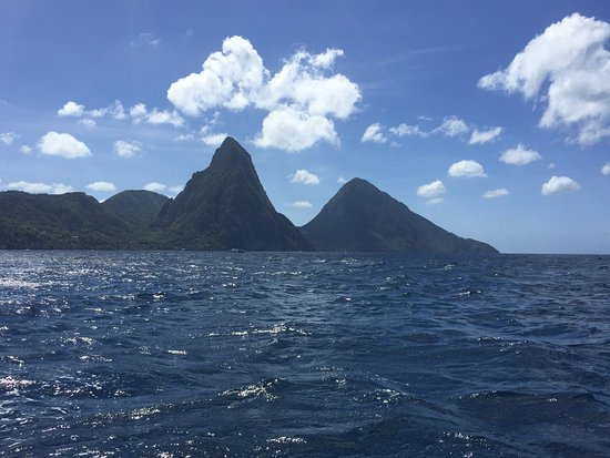 Solomon Water Taxi & Tours: View of the Pitons from the Caribbean Sea