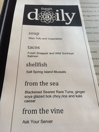 Daily specials, Atlas Cafe, 250 6th St, Courtenay, British Columbia