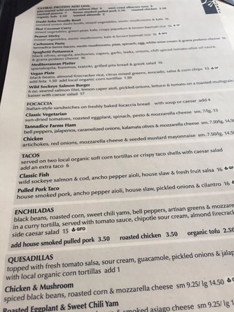 Menu options, Atlas Cafe, 250 6th St, Courtenay, British Columbia