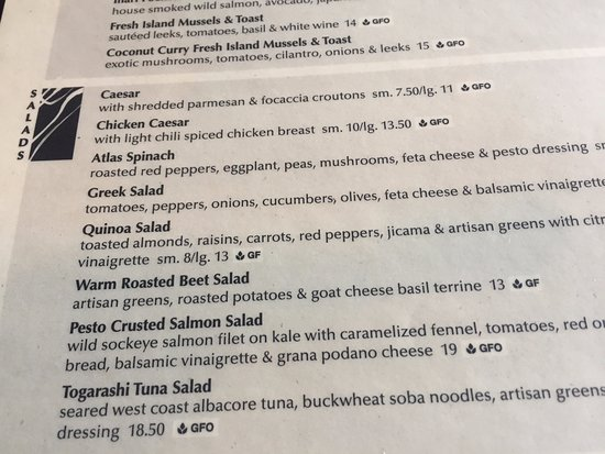 Menu options, Atlas Cafe, 250 6th St, Courtenay, British Columbia