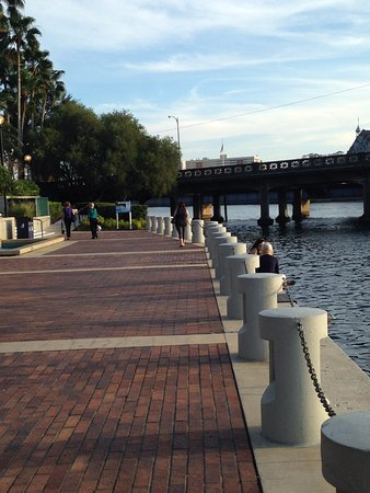 Straz Center for the Performing Arts: Riverwalk and Kennedy Bridge from the Straz