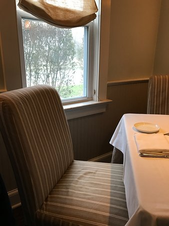 Southold, NY: Empty table by the window