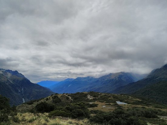 Milford, New Zealand: Looking across the Fiordland from the top of Key Summit